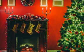 Picture decoration, comfort, holiday, tree, new year, candles, fireplace, decor, glass of champagne