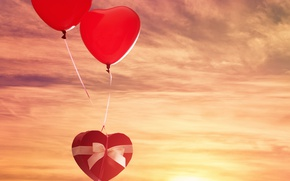 Picture the sky, the sun, balls, gift, heart, red, bow, sky, heart, gift, Valentines Day, Valentine's …
