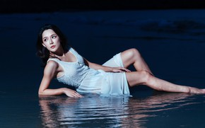 Picture sea, face, hair, the evening, dress, Oriental model