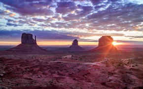 Picture rays, sunset, mountains, nature, rocks, Utah, USA, Monument valley