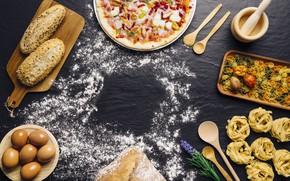 Picture food, eggs, bread, pizza, food, pizza, flour, bread, Italian, pasta