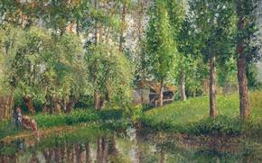 Picture landscape, picture, Camille Pissarro, Place Laundry in Basankusu