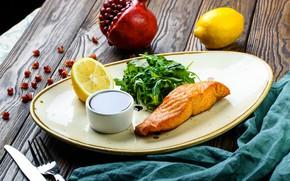 Wallpaper Fish, Lemon, salmon, garnet, sauce, greens