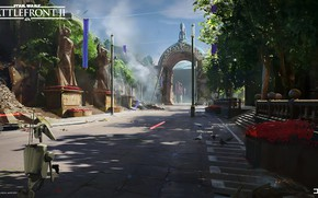 Picture road, Star Wars Battlefront II, arch, robot, Theed City