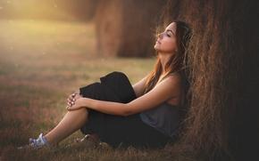 Picture girl, mood, stack, brunette, hay, straw, sitting, haystack
