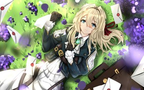 Picture grass, field, anime, letters, violet evergarden