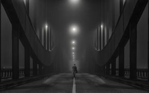 Wallpaper bridge, lights, fog, people, haze, black and white photo
