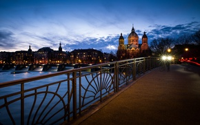 Picture bridge, lights, river, home, the evening, Germany, Munich, lights, Church