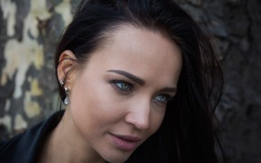 Picture face, model, portrait, makeup, brunette, hairstyle, beautiful, in black, Angelina Petrova, Angelina Petrova