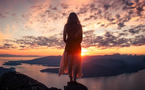 Picture water, girl, the sun, clouds, rays, sunset, mountains, river, mood, rocks, dawn, hills, hair, back, …