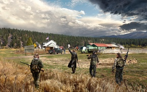 Picture art, soldiers, farm, Far Cry 5