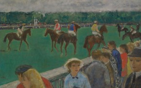 Picture picture, horse, riders, the audience, running, genre, Francois Gall, The horse Racing lovers in Paris