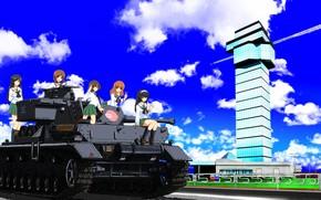 Picture kawaii, girl, weapon, anime, cute, tank, japanese, Girls and Panzer, seifuku