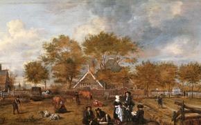 Picture landscape, tree, oil, picture, Jan Pietersz Opperdoes, Farmstead