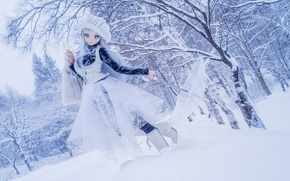 Picture winter, snow, trees, nature, umbrella, mood, toy, doll