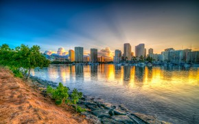 Picture the sky, Islands, nature, reflection, HDR, skyscrapers, Hawaii, Bay, coast, sunsets, Honolulu