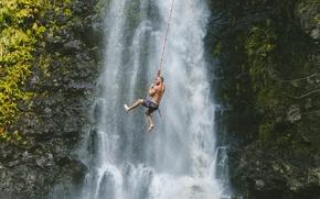 Picture man, waterfall, adventure, climb, mounatin
