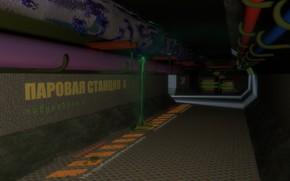 Picture pipe, fiction, industrial, station, corridor, Blender3d, steam, leak