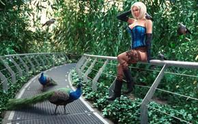 Picture girl, bridge, bird, Jardin bleu