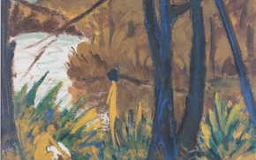 Picture trees, river, the bushes, naked girls, Expressionism, Otto Mueller, Waldsee with two files, ca1912