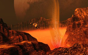 Picture mountains, planet, lava, camera, Lava Survey on Nix