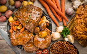 Picture meat, carrots, garlic, potatoes