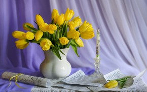 Picture notes, candle, tulips, still life