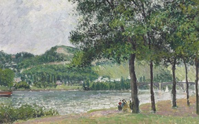 Picture landscape, picture, Camille Pissarro, Promenade Cours-La-Reine. Rouen. Cloudy Weather