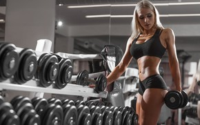 Wallpaper girl, model, blonde, sports, fitness, gym, fitness model, dumbbells, Workout, exercising