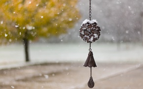 Picture snow, nature, bell, bokeh