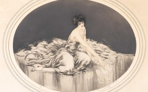 Picture card, 1926, Louis Icart, etching and aquatint, Solitaire