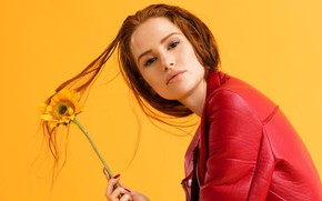 Wallpaper Madeline Pets, look, Riverdale, Madelaine Petsch, background, jacket, red, actress, red, flower, hairstyle, makeup, sunflower, ...