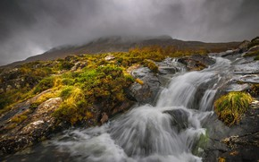Wallpaper clouds, stream, river, Wales, stream, Snowdonia, fog, mountains