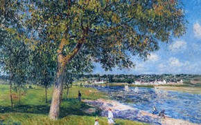 Picture landscape, river, picture, Alfred Sisley, Alfred Sisley, Walnut Tree in Tamri