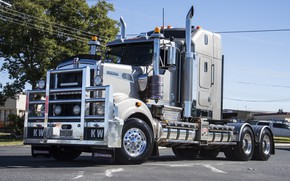 Picture white, power, kenworth, hrome