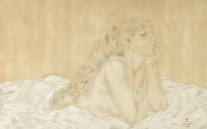 Picture paper, watercolor, 1932, Reclining Nude, Tsuguharu Foujita, pen and ink, Madeleine