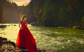 Picture girl, trees, river, Asian, red dress, Wora Tippayapaisal