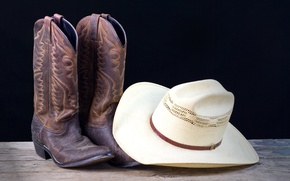 Picture white, hat, leather, cowboy, Boots
