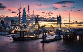 Picture river, ship, England, London, tower, Thames, Tower bridge