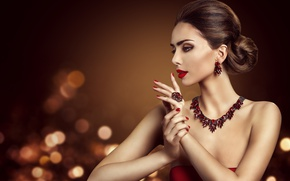 Picture decoration, style, makeup, ring, hairstyle, earrings, necklace, Inara Prusakova