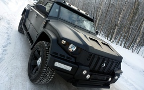 Wallpaper forest, road, Combat t-98, machine, Kombat, Т98, Black, car, road, snow, forest, snow, jeep