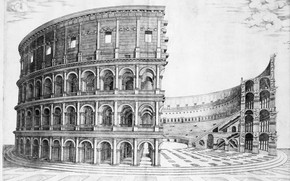 Picture ancient Rome, the Flavian amphitheatre, construction of the colosseum