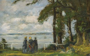 Picture trees, picture, Eugene Boudin, Eugene Boudin, Landscape with Three Women