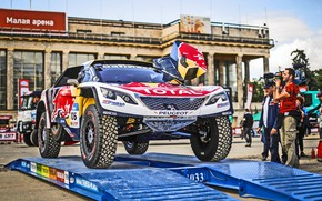 Picture The city, Sport, Moscow, Peugeot, Rally, Rally, Start, DKR, 2017, 3008, Silk Way, Peugeot 3008 …