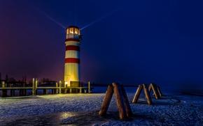 Picture winter, snow, night, lights, coast, lighthouse, Austria, rays of light, Podersdorf