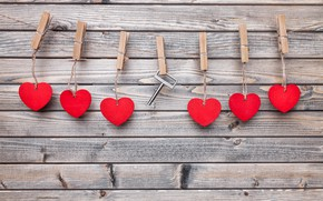 Picture love, romance, rope, key, hearts, love, heart, wood, clothespins, key, romantic, Valentines