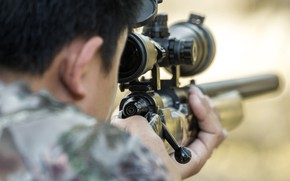 Picture military, rifle, telescopic sight, target shooting