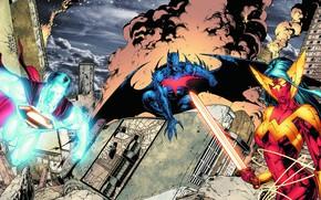 Picture Batman, art, Wonder Woman, Batman, Superman, art, comic, Superman, DC Comics, wonder woman, trinity, DC