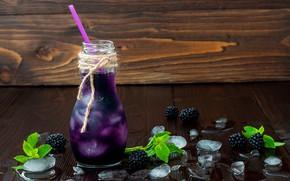 Wallpaper berry, tube, BlackBerry, ice, water, leaves, drink, bottle