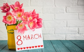 Picture bouquet, tulips, March 8, postcard, Spring festival